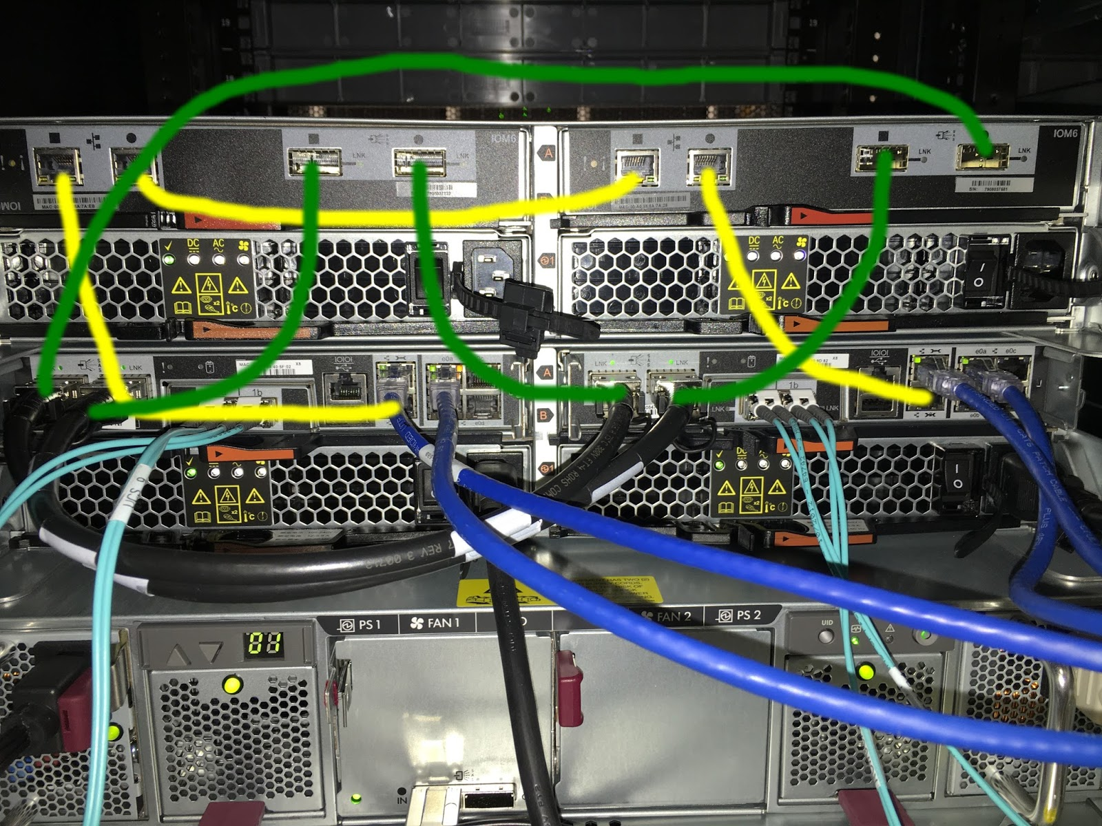 hight resolution of below is the production system the racked external storage above it and the ultimate path for the sas and acp cables worked like a champ