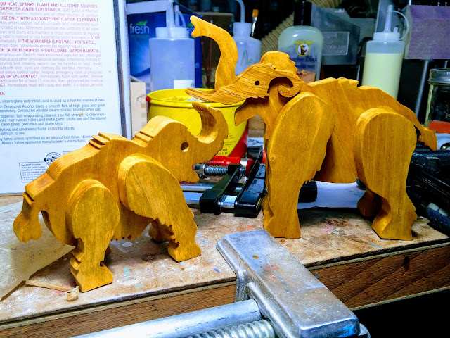 Handmade Wooden Toy Mammoth With Shopmade Plywood Tusks with Baby Mammoth
