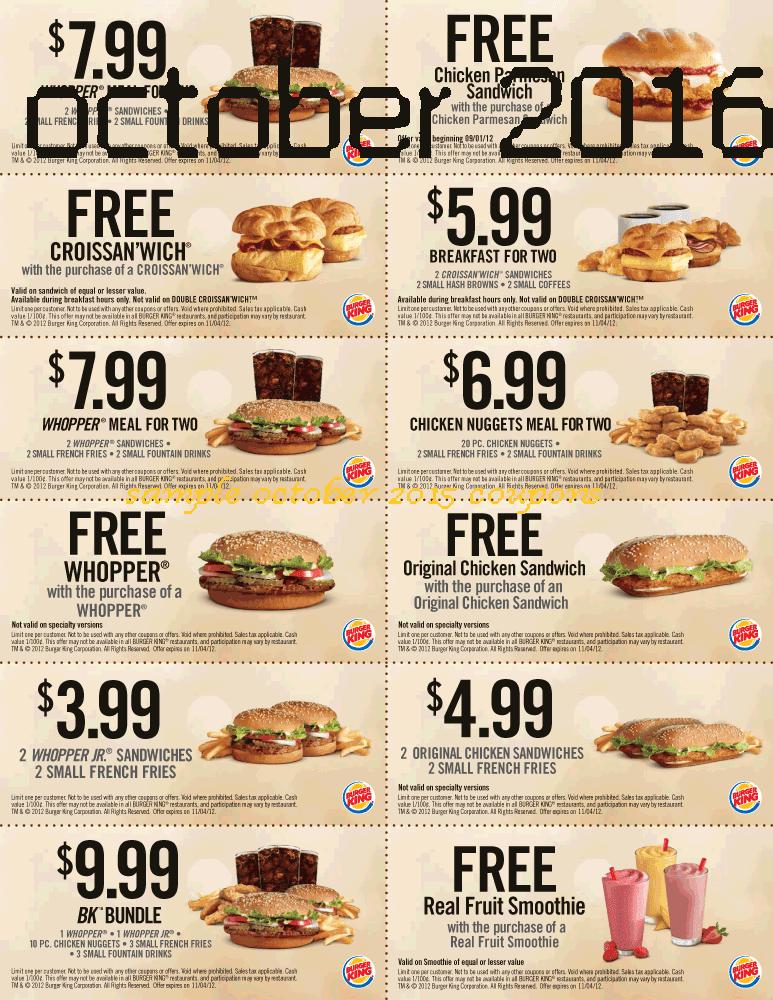 Burger king coupons october 2019