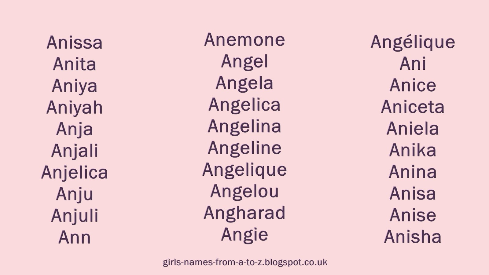 Girls Names From A To Z