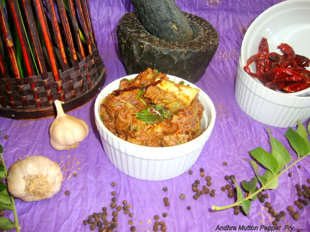 image of Andhra Mutton Pepper Fry Recipe / Mutton Pepper Fry Recipe