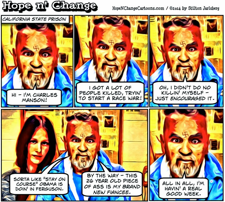 obama, obama jokes, cartoon, political, humor, stilton jarlsberg, hope n' change, hope and change, ferguson, brown, manson, violence
