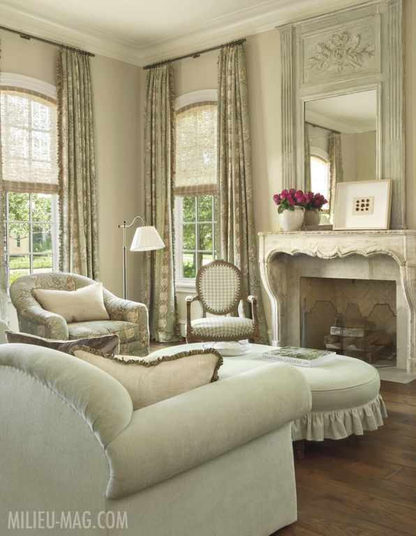 Romantic and feminine living room by Pamela Pierce in Milieu magazine