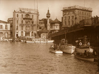 View of Karaköy square and Galatas bridge, 1931. This photo, which is one of the earliest examples of the Artamonoff Collection, depicts a pier that no longer exists. The Karaköy Mosque (1903) located in the middle of the image between two buildings, designed by the Italian architect Raimondo D'Aronco, was destroyed in 1958 within the framework of the urban development plan started by Adnan Menderes [Credit: © Nicholas V. Artamonoff Collection, Image Collections and Fieldwork Archives, Dumbarton Oaks]