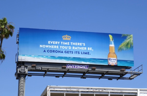 nowhere youd rather be corona gets lime billboard