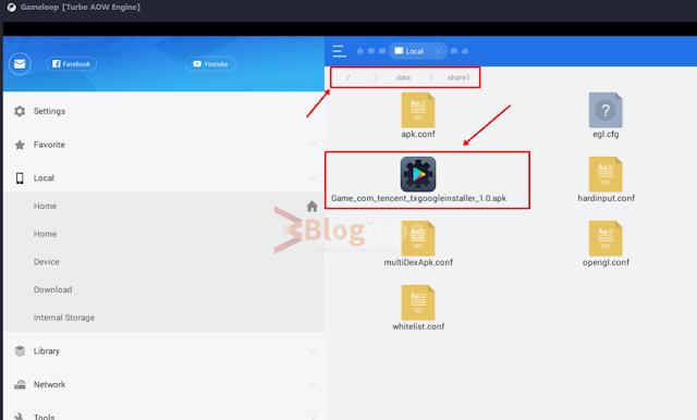 Downloaded apk file location in gameloop