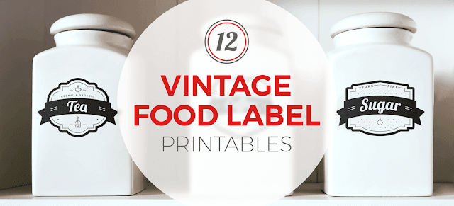 Image: 12 Vintage Food Label Printables