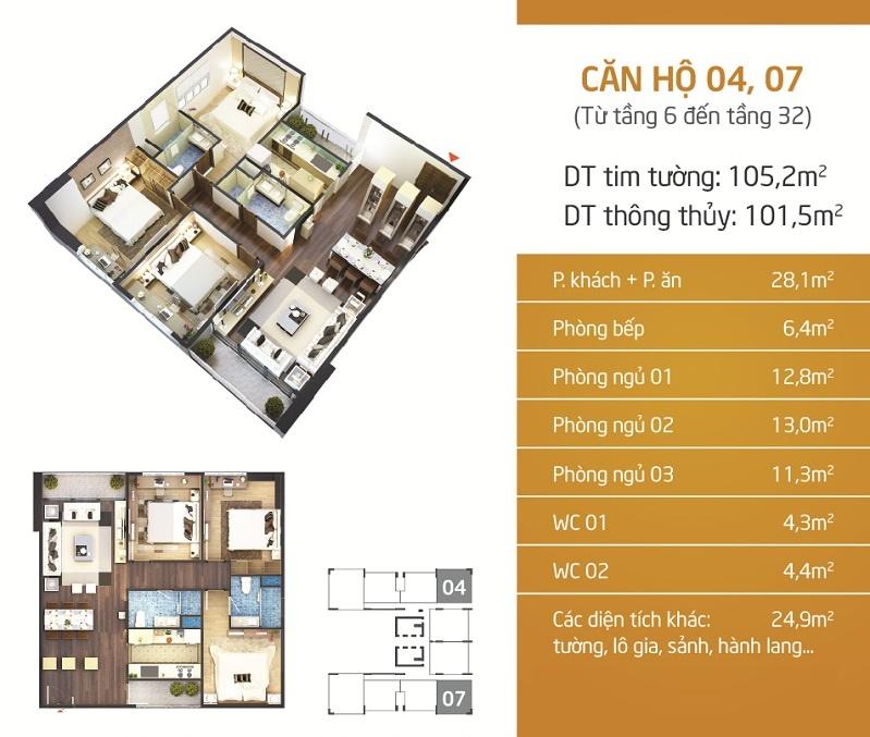 Mặt bằng căn hộ tại chung cư N01T4 Ngoại Giao Đoàn