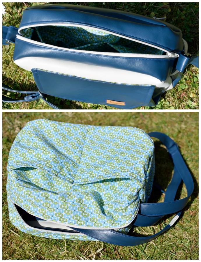 Innenansicht der Handtasche Alltagsheldin: unterteiltes Einschubfach, gemusterter retro-Futterstoff in Blau- und Türkistönen