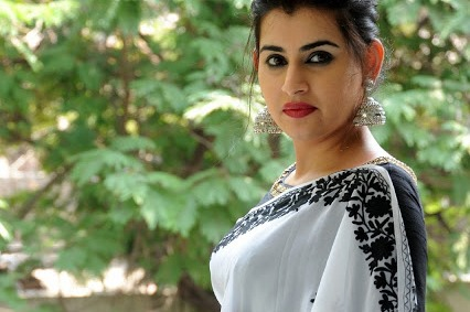 Archana Shastry Cute Photos in White Saree and Black Blouse