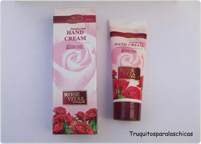 crema de manos con rosa damascena