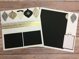 These 12x12 scrapbook pages use the trendy black and gold Winter Wonderland Designer Paper along with the Embellished Ornaments Stamp Set and Delicate Ornament Thinlits.  Video on blog: http://www.stampwithjennifer.blogspot.com.