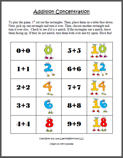 learning ideas grades k 8 addition concentration game with doubles. Black Bedroom Furniture Sets. Home Design Ideas