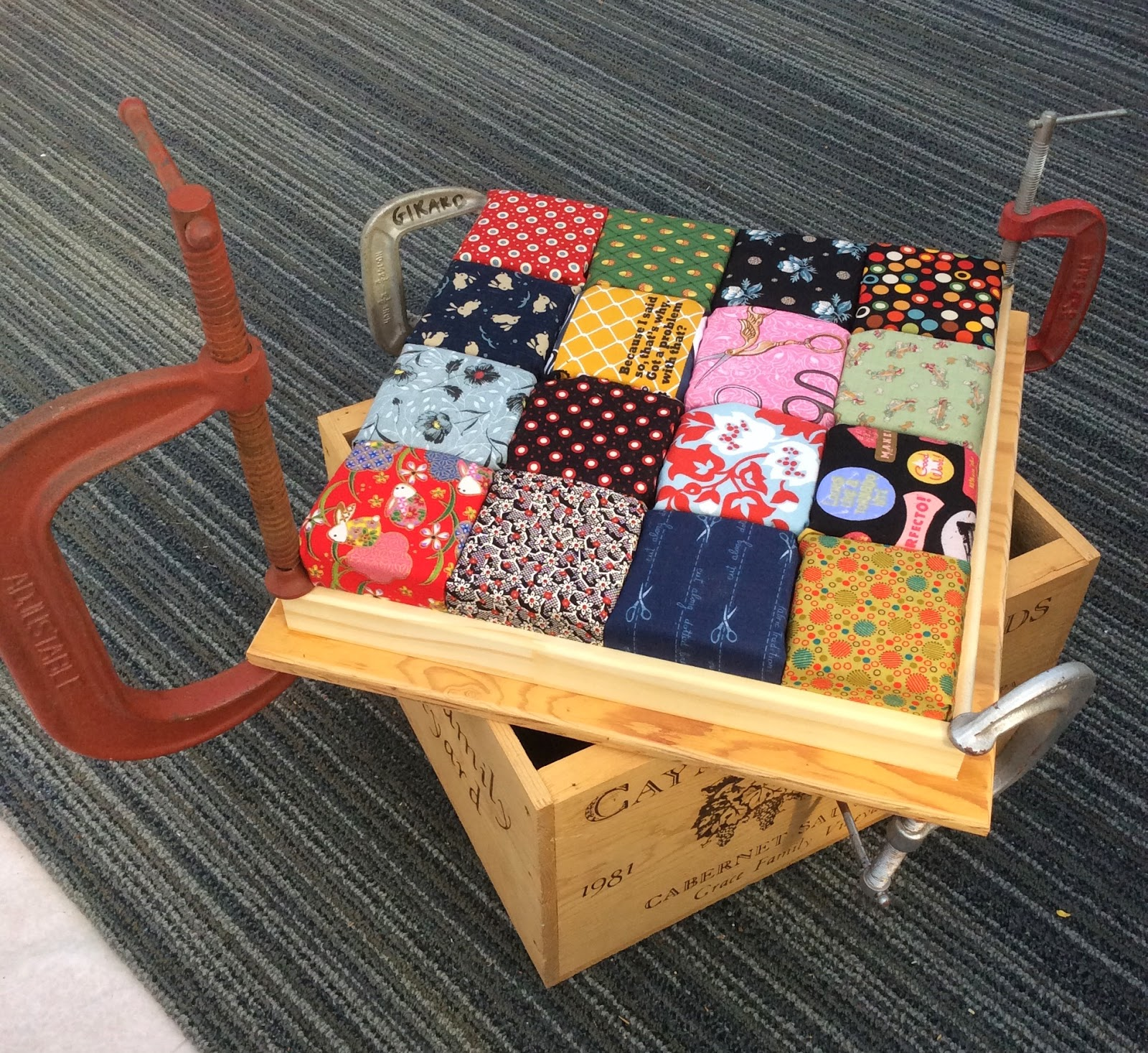 recycled wine crate foot stool, foamology 12 block, quilt fabric, buttons, stefanie girard