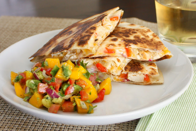 chicken quesadillas with mango avocado salsa