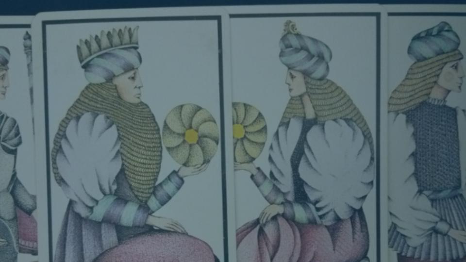 des cartes du tarot de Marseille. Les cartes de la cour de la famille des deniers plus précisément.