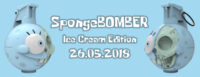 "Sponge Bomber Spongrenade Ice Cream Edition 8"" Vinyl Figure by Nathan Cleary x Pobber Toys"
