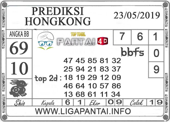 """Prediksi Togel """"HONGKONG"""" PANTAI4D 23 MEI 2019"""