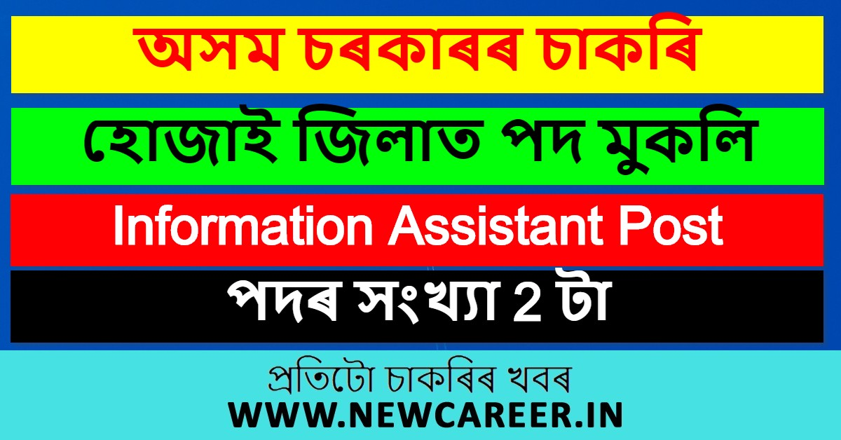 DC Office Hojai Recruitment 2020: Apply For 2 Information Assistant Post