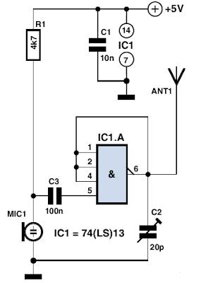 Simple FM Microbug Circuit Diagram