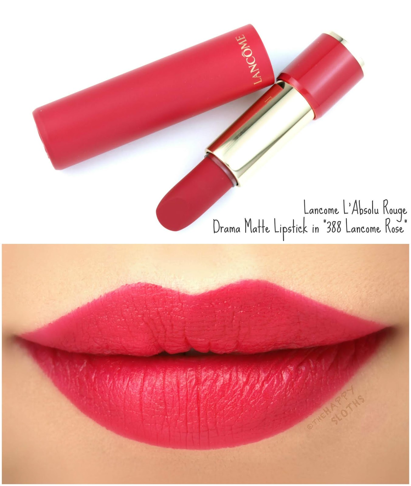 "Lancome | L'Absolu Rouge Drama Matte Lipstick in ""388 Lancome Rose"": Review and Swatches"