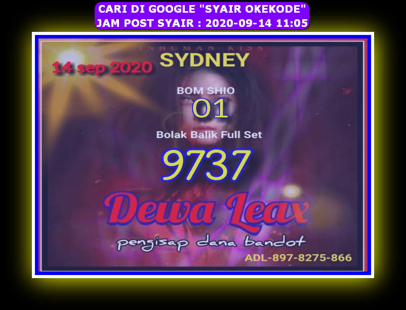 Kode syair Sydney Senin 14 September 2020 73