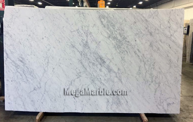 White Carrara Honed Marble Slabs