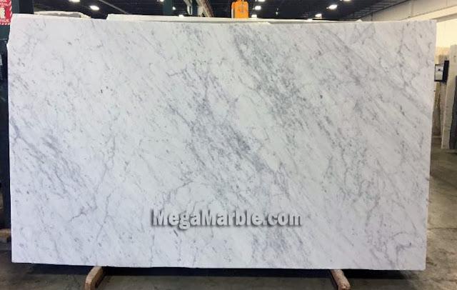 White Carrara Honed Marble Slabs