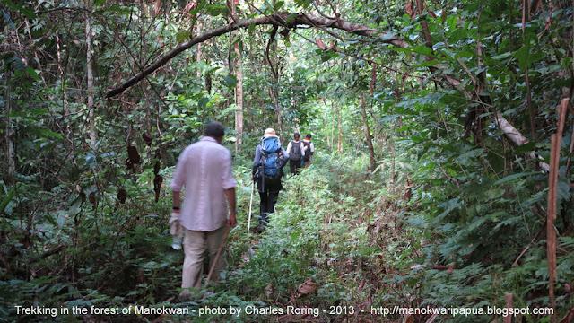 French tourists hiking in Manokwari