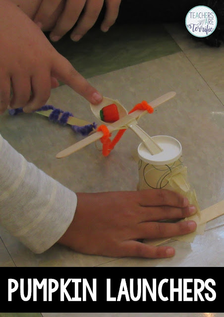 Pumpkin Launching in STEM! Kids use materials to launch tiny pumpkins at targets! Can they build a launcher that will aim and launch?