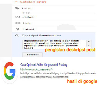 mengatur keyword pada deskripsi postingan
