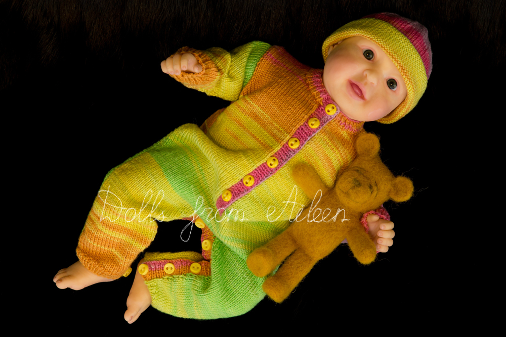 ooak posable baby doll with teddy bear