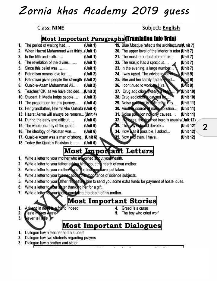 2019 guess paper 9th class English guess paper 2019 ~ Zornia Khas
