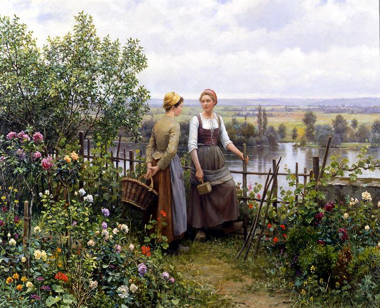 Maria e Madalena no Terraço - Daniel Ridgway Knight e suas mais belas pinturas