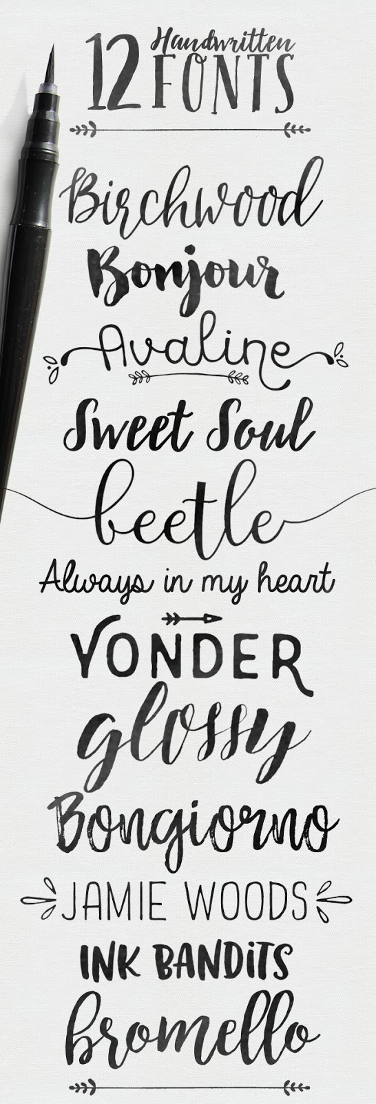 handwritten brush fonts, some free