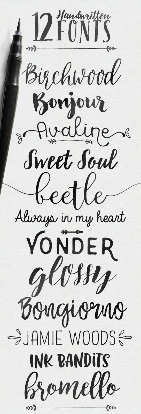 handwritten brush fonts, some free
