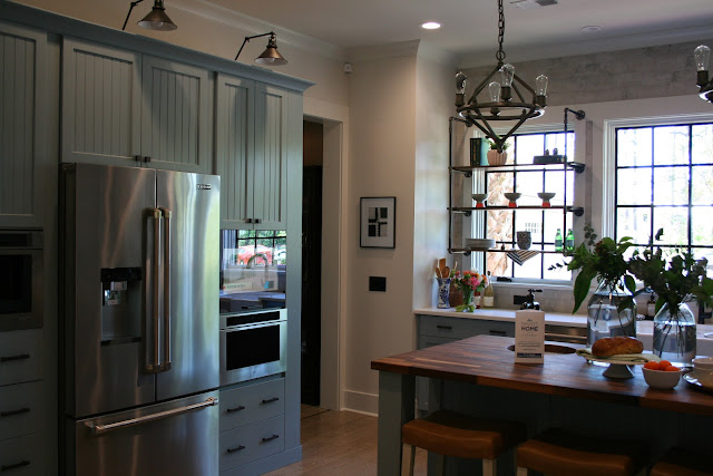 Dusty blue kitchen cabinets in the cottage farmhouse in Palmetto Bluff, SC | The Lowcountry Lady