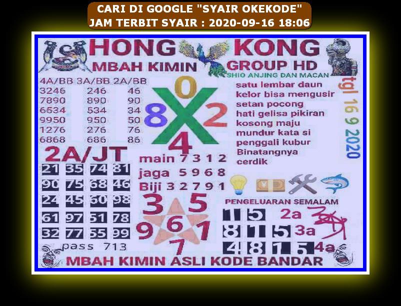 Kode syair Hongkong Rabu 16 September 2020 43