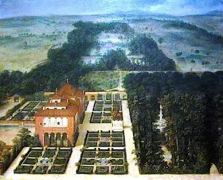 Óleo de Félix Castello. Vista desde la altura la residencia real, rodewada de jardines, al lado un frondoso bosque con fuente. Al fondo los estanques.