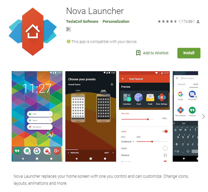 Download and Install Nova Launcher for free from the Google Play Store