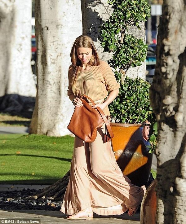 Amber Heard style camel jumper maxi skirt