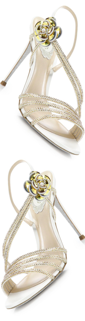 Rene Caovilla Embellished Strappy Leather Sandals