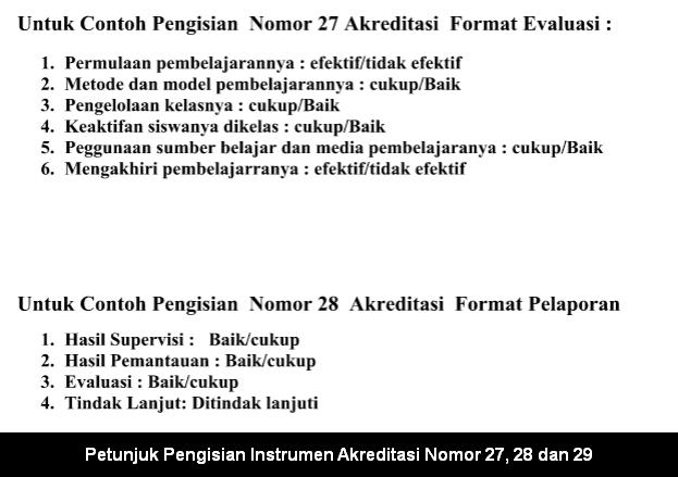 Petunjuk Pengisian Instrumen Akreditasi Nomor 27, 28 dan 29