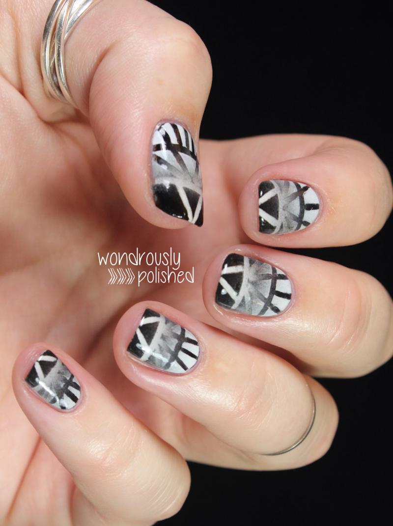Wondrously Polished April Nail Art Challenge: Wondrously Polished: The Digital Dozen Does Black & White