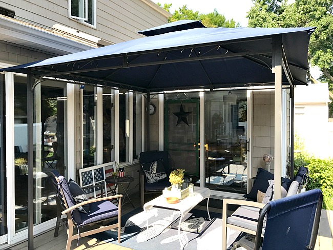 gazebo top and navy blue deck furniture