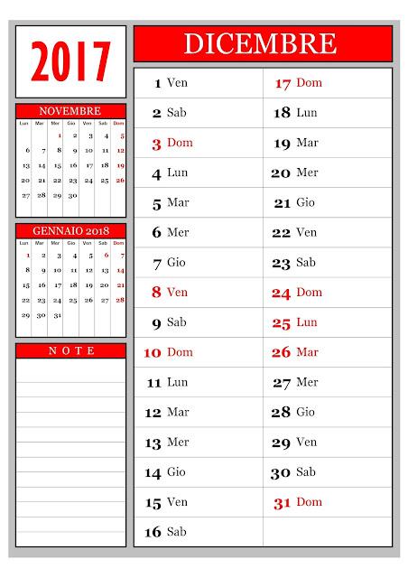 Calendario mensile - dicembre 2017