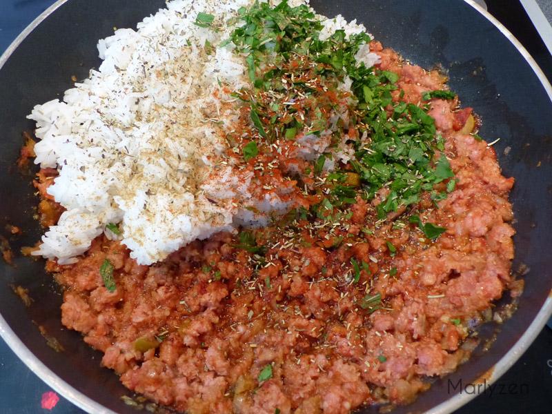 Farce : viande hachée, riz, épices, ....