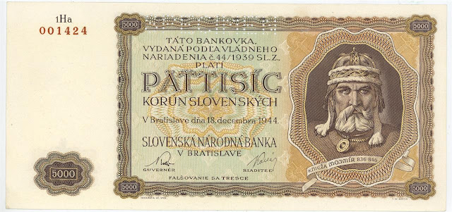 World money Slovakia currency 5000 Slovak koruna banknotes images
