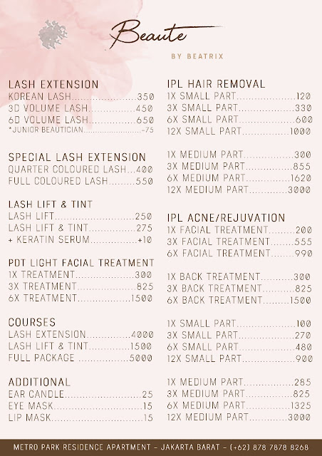 Treatment Pricelist at BeauteByBeatrix