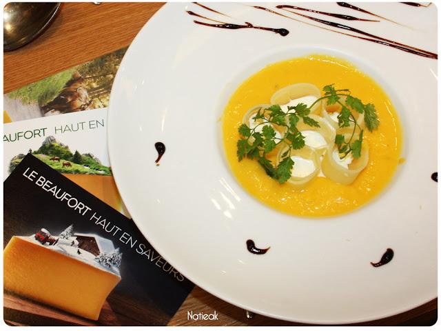 Velouté butternut avec tonnelet de Beaufort et crème à l'ail